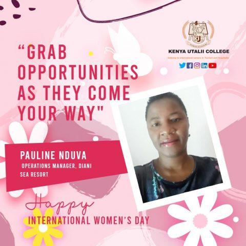 Pauline Nduva, Kenya Utalii College Womens Day